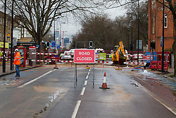 © Licensed to London News Pictures. 28/02/2014. London, UK. NNNN in Kennington London today (28/02/2014). The watermain, which burst yesterday evening flooding a section of Clapham Road - a major in and out of the city - with thousands of litres of water, has today caused widespread disruption to traffic. Photo credit: Matt Cetti-Roberts/LNP