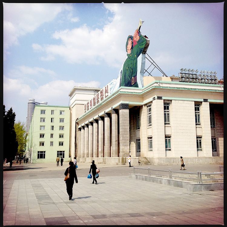 Communist architecture and propaganda in downtown Pyongyang, North Korea.
