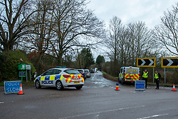 © Licensed to London News Pictures. 21/12/2019. Borehamwood, UK. A police cordon on Hogg Lane after Hertfordshire police were called to the discovery of a man's body on Friday 20th December around 15:38 GMT. London's Metropolitan Police are investigating and are linking the death to the murder of a man found with stab injuries in Scratchwood Park, Barnet in London on 19th December 2019. Photo credit: Peter Manning/LNP
