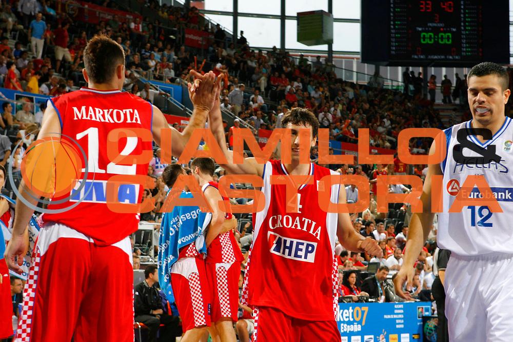DESCRIZIONE : Madrid Spagna Spain Eurobasket Men 2007 Qualifying Round Grecia Croazia Greece Croatia <br /> GIOCATORE : Damir Markota Roko Leni Ukic <br /> SQUADRA : Croazia Croatia <br /> EVENTO : Eurobasket Men 2007 Campionati Europei Uomini 2007 <br /> GARA : Grecia Croazia Greece Croatia <br /> DATA : 09/09/2007 <br /> CATEGORIA : Esultanza <br /> SPORT : Pallacanestro <br /> AUTORE : Ciamillo&amp;Castoria/T.Wiedensohler <br /> Galleria : Eurobasket Men 2007 <br /> Fotonotizia : Madrid Spagna Spain Eurobasket Men 2007 Qualifying Round Grecia Croazia Greece Croatia <br /> Predefinita :
