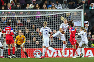 Alex Morgan of USA Women (2nd right) scores his team's first goal against England Women to make it 0-1 during the International Friendly match at stadium:mk, Milton Keynes<br /> Picture by David Horn/Focus Images Ltd +44 7545 970036<br /> 13/02/2015