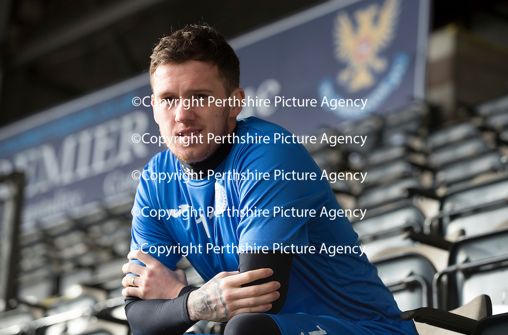 St Johnstone's Danny Swanson pictured at McDiarmid Park looking forward to facing his old side Dundee United on Saturday...20.02.15<br /> Picture by Graeme Hart.<br /> Copyright Perthshire Picture Agency<br /> Tel: 01738 623350  Mobile: 07990 594431