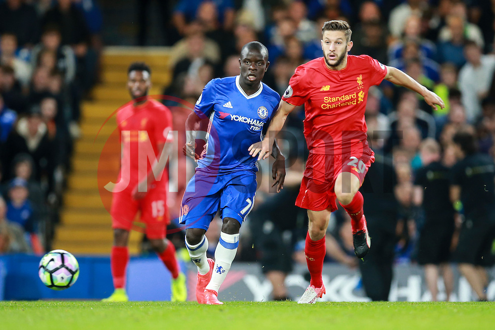 Adam Lallana of Liverpool passes under pressure from Ngolo Kante of Chelsea - Mandatory by-line: Jason Brown/JMP - 16/09/2016 - FOOTBALL - Stamford Bridge - London, England - Chelsea v Liverpool - Premier League