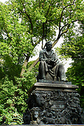 Details of the Ivan Andreyevich Krylov monument in the Summer Garden, saint Petersburg, Russia
