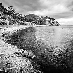 Descanso Bay Catalina Island black and white photo. Descanso Bay is a popular area of Catalina Island off the coast of Southern California in the United States.