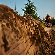 Jason Porter rides on Galbraith Mountain near Bellingham Washington.