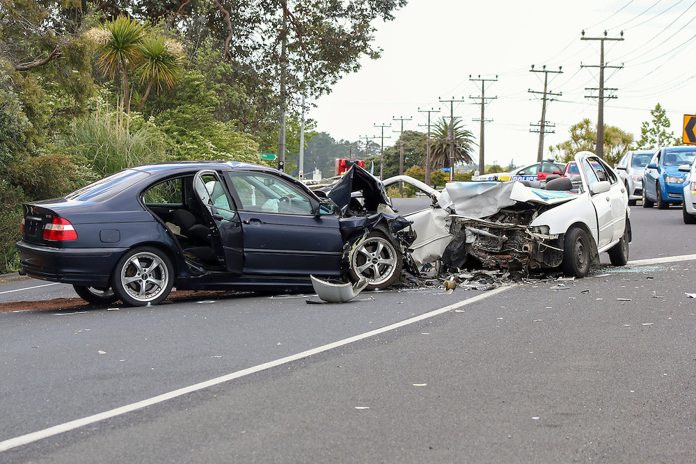Serious injuries resulted from a head on crash on SH16 at Huapai, Auckland, New Zealand, Friday, November 20, 2015.  Credit:SNPA / Daniel HInes