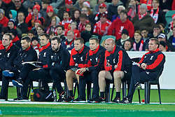 ADELAIDE, AUSTRALIA - Monday, July 20, 2015: Liverpool's manager Brendan Rodgers with first-team development coach Pepijn Lijnders and first team coach Gary McAllister during a preseason friendly match against Adelaide United at the Adelaide Oval on day eight of the club's preseason tour. (Pic by David Rawcliffe/Propaganda)