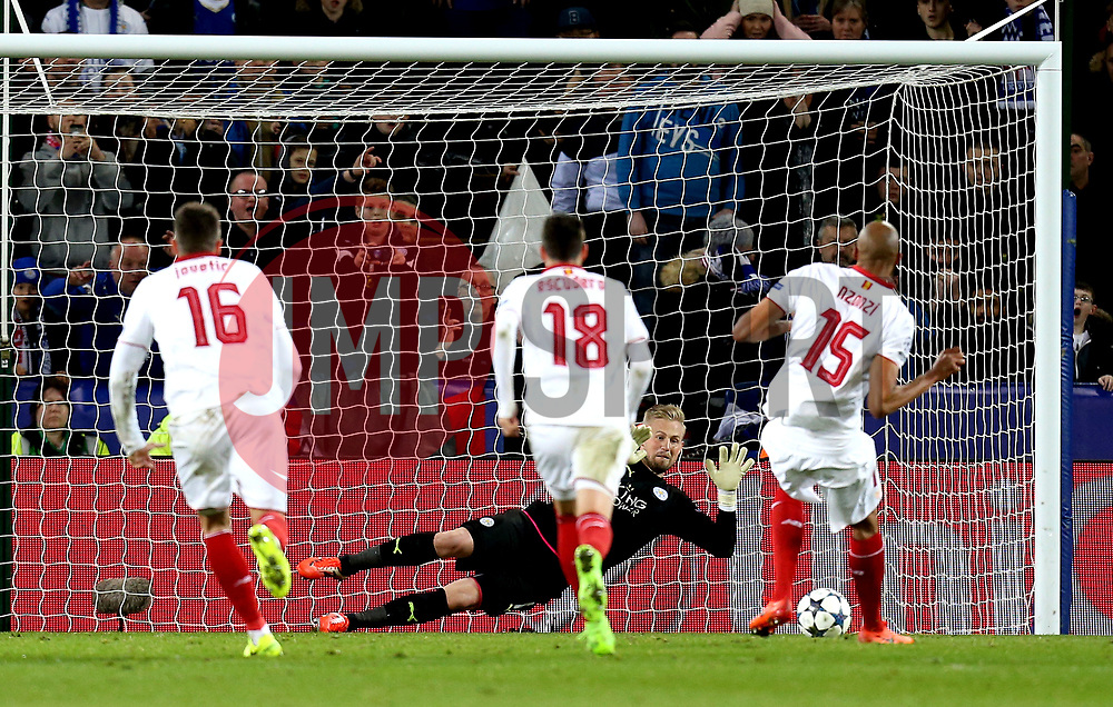 Kasper Schmeichel of Leicester City saves a penalty from Steven N'Zonzi of Sevilla - Mandatory by-line: Robbie Stephenson/JMP - 14/03/2017 - FOOTBALL - King Power Stadium - Leicester, England - Leicester City v Sevilla - UEFA Champions League round of 16, second leg
