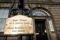 Detail of nameplate at Bute House, official residence of The First Minister of Scotland in Charlotte Square , Edinburgh, Scotland, United Kingdom