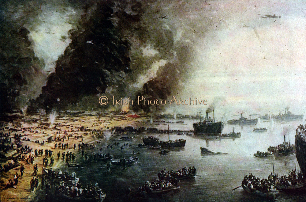 The Withdrawal from Dunkirk, June 1940' by Charles Cundall (1890-1971) British official war  artist. View of the evacuation of British, French and Belgian forces from Dunkirk 27 May to 3 June under German bombardment.