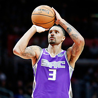 12 October 2017: Sacramento Kings guard George Hill (3) is seen at the free throw line during the LA Clippers 104-87 victory over the Sacramento Kings, at the Staples Center, Los Angeles, California, USA.