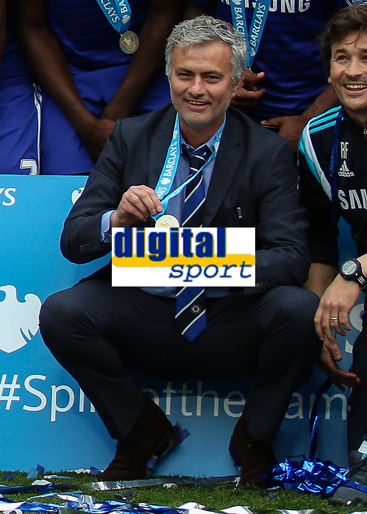 Football - 2014 / 2015 Premier League - Chelsea vs. Sunderland.   <br /> <br /> José Mourinho, Manager, of Chelsea FC shows his winners medal at Stamford Bridge. <br /> <br /> COLORSPORT/DANIEL BEARHAM