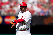 17 April 2010:St. Louis Cardinals Third Base Coach Jose Oquendo stretches during Saturday's game against the New York Mets at Busch Stadium in St. Louis, Missouri. The Game would go 20 innings, with the Mets winning 2-1.