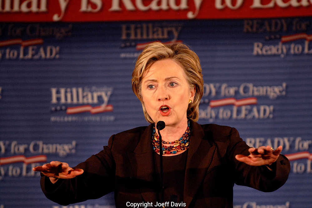 ATLANTA, GA - OCT 12, 2007: Hillary Clinton speaks after receiving the endorsement for president from Georgia Representative and former civil rights leader John Lewis October 12, 2007 at Pascals restaurant in Atlanta, Georgia. In late February 2008 Lewis dropped his endorsement for Clinton and instead announced he was for Barack Obama.