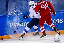16-02-2018 KOR: Olympic Games day 7, PyeongChang<br /> Ice Hockey Russia (OAR) - Slovenia / defenseman Blaz Gregorc #15 of Slovenia, forward Alexander Barabanov #94 of Olympic Athlete from Russia