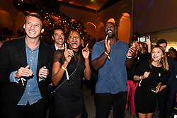 Fabien Gilot, Marie Jo Perec and Teddy Riner during the Paris 2024 Party, Lima, Peru, on September 13, 2017. Photo by Paris 2024/ABACAPRESS.COM