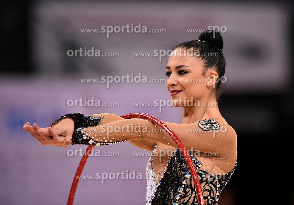 08.09.2015, Porsche Arena, Stuttgart, GER, Gymnastik WM, Gruppe D, im Bild Jana Berezko-Marggrander (GER) Reifen // during the World Rhythmic Gymnastics Championships at the Porsche Arena in Stuttgart, Germany on 2015/09/08. EXPA Pictures &copy; 2015, PhotoCredit: EXPA/ Eibner-Pressefoto/ Weber<br /> <br /> *****ATTENTION - OUT of GER*****