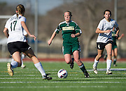 Katie Sanders (3) of Greenhill brings the ball up field during the SPC Division I girls soccer championship game against Hockaday School at Episcopal School of Dallas on Saturday, February 16, 2013 in Dallas, Texas. (Cooper Neill/The Dallas Morning News)