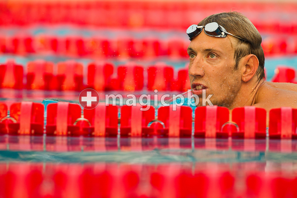 Alain BERNARD of France is cooling down after winning the men's 100m Freestyle Final at the European Swimming Championship at the Hajos Alfred Swimming complex in Budapest, Hungary, Friday, Aug. 13, 2010. (Photo by Patrick B. Kraemer / MAGICPBK)