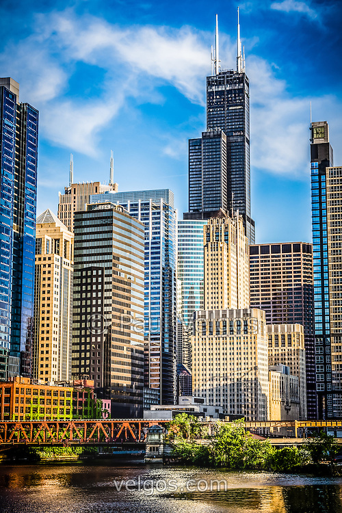 Chicago high resolution picture of downtown city office buildings and skyscrapers at Lake Street Bridge including Willis Tower (Sears Tower). Photo is vertical and high resolution.