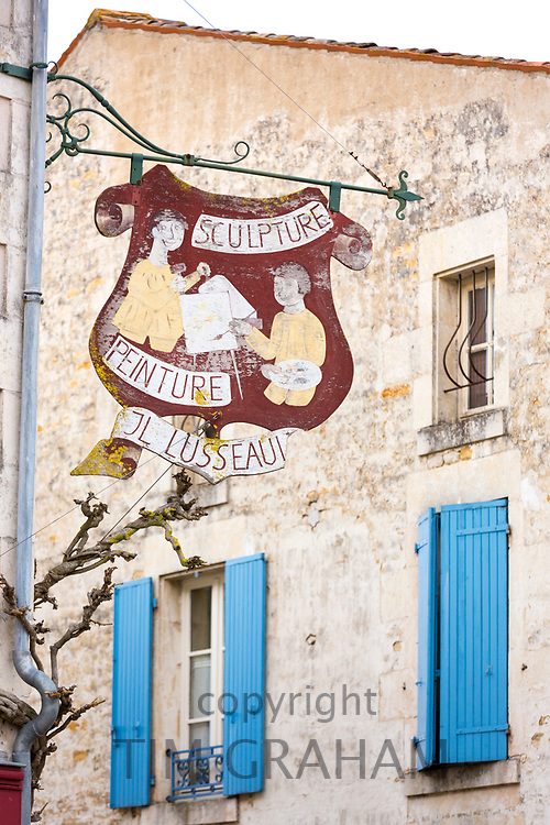 Ancient sign for sculpture and pictures in Coulon in the Marais Poitrevin region a Grand Site de France