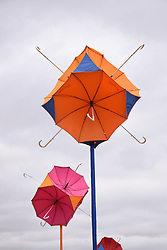 Latitude Festival, Henham Park, Suffolk, UK July 2018. These umbrellas become solar lighting at night