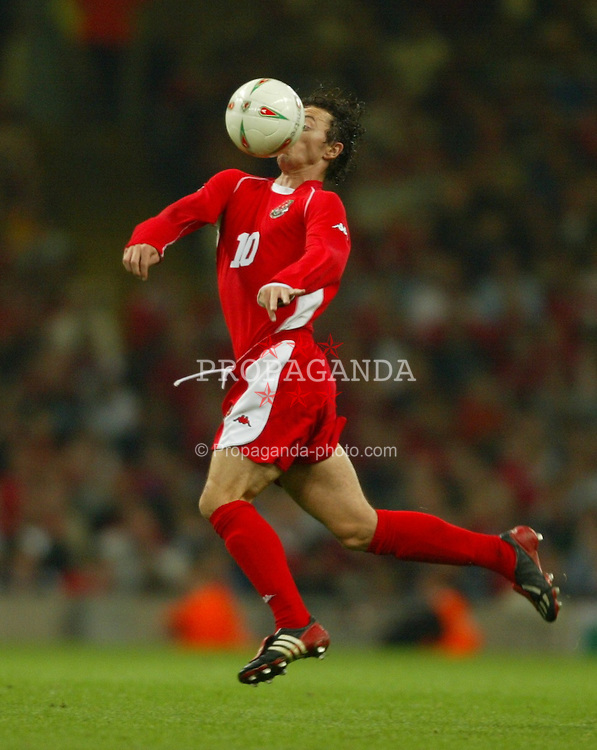 Wales' Simon Davies in action against Finland during the Euro 2004 qualifying match at the Milennium Stadium. (Pic by David Rawcliffe/Propaganda)