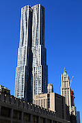 Old and new Downtown New York City Woolworth and Frank Gehry residential highrise