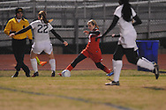 Oxford High vs. Lafayette High's Alley Houghton (3) in girls soccer action on Tuesday, December 10, 2013. The match ended in a 5-5 tie.