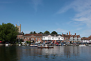 """Henley on Thames, United Kingdom, 4th July 2018, Wednesday,General View, """"Regatta Time"""",   first day of the annual,  """"Henley Royal Regatta"""", Henley Reach, River Thames, Thames Valley, England, © Peter SPURRIER,"""