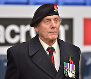 A local war veteran remembers those passed during the Sky Bet Championship match between Bolton Wanderers and Bristol City at the Macron Stadium, Bolton, England on 7 November 2015. Photo by Mark Pollitt.