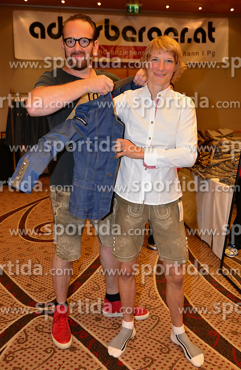 16.07.2016, Hotel Mariott, Wien, AUT, Olympia, Rio 2016, Einkleidung OeOC, im Bild Sarina Filzmoser mit Bernhard Adelsberger // during the outfitting of the Austrian National Olympic Committee for Rio 2016 at the Hotel Mariott in Wien, Austria on 2016/07/16. EXPA Pictures © 2016, PhotoCredit: EXPA/ Erich Spiess