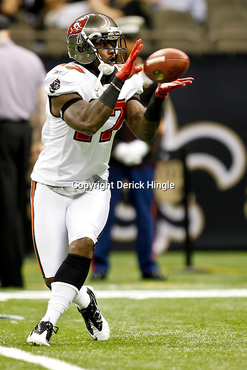 November 6, 2011; New Orleans, LA, USA; Tampa Bay Buccaneers wide receiver Arrelious Benn (17) prior to kickoff of a game against the New Orleans Saints at the Mercedes-Benz Superdome. Mandatory Credit: Derick E. Hingle-US PRESSWIRE