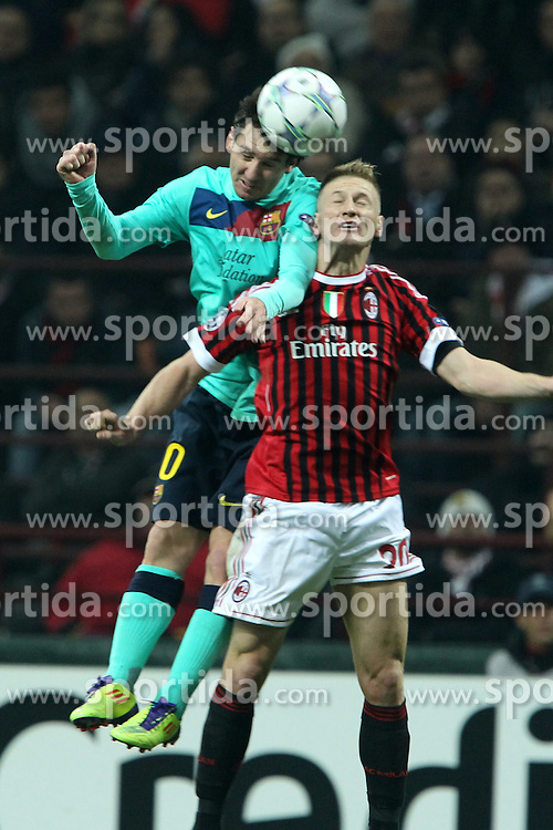 23.11.2011, Giuseppe Meazza Stadion, Mailand, ITA, UEFA CL, Gruppe H, AC Mailand (ITA) vs FC Barcelona (ESP), im Bild Lionel Messi Barcellona Ignazio Abate Milan // during the football match of UEFA Champions league, group H, between Gruppe H, AC Mailand (ITA) and FC Barcelona (ESP) at Giuseppe Meazza Stadium, Milan, Italy on 2011/11/23. EXPA Pictures © 2011, PhotoCredit: EXPA/ Insidefoto/ Paolo Nucci..***** ATTENTION - for AUT, SLO, CRO, SRB, SUI and SWE only *****