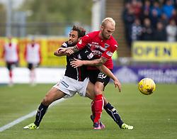 Falkirk's Tom Taiwo and Dunfermline's Callum Higginbotham. Falkirk 2 v 1 Dunfermline, Scottish Championship game played 15/10/2016, at The Falkirk Stadium.