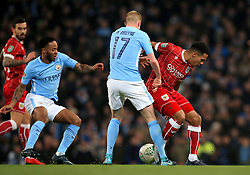Korey Smith of Bristol City battles for the ball with Kevin De Bruyne of Manchester City  - Mandatory by-line: Matt McNulty/JMP - 09/01/2018 - FOOTBALL - Etihad Stadium - Manchester, England - Manchester City v Bristol City - Carabao Cup Semi-Final First Leg