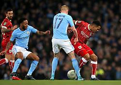 Korey Smith of Bristol City battles for the ball with Kevin De Bruyne of Manchester City  - Mandatory by-line: Matt McNulty/JMP - 09/01/2018 - FOOTBALL - Etihad Stadium - Manchester, England - Manchester City v Bristol City - Carabao Cup Semi-Final First Leg