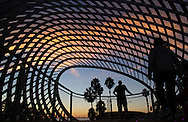 People gather at an observation deck at Santa Monica's new $42.3 million Tongva Park. The six-acre green space is a block from the ocean and features several Ocean Avenue overlooks.