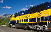 Alaska: Scenic close-up of the Alaska Railroad at the Denali Park Station.