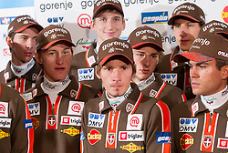 Ski jumping team (L-R): Jure Sinkovec, Peter Prevc, Mitja Meznar, Robert Kranjec, Jaka Hvala, Nejc Dezman and Jernej Damjan during media day of Ski Association of Slovenia before new winter season 2012/13, on October 13, 2012, in Cerklje na Gorenjskem, Slovenia. (Photo by Vid Ponikvar / Sportida)