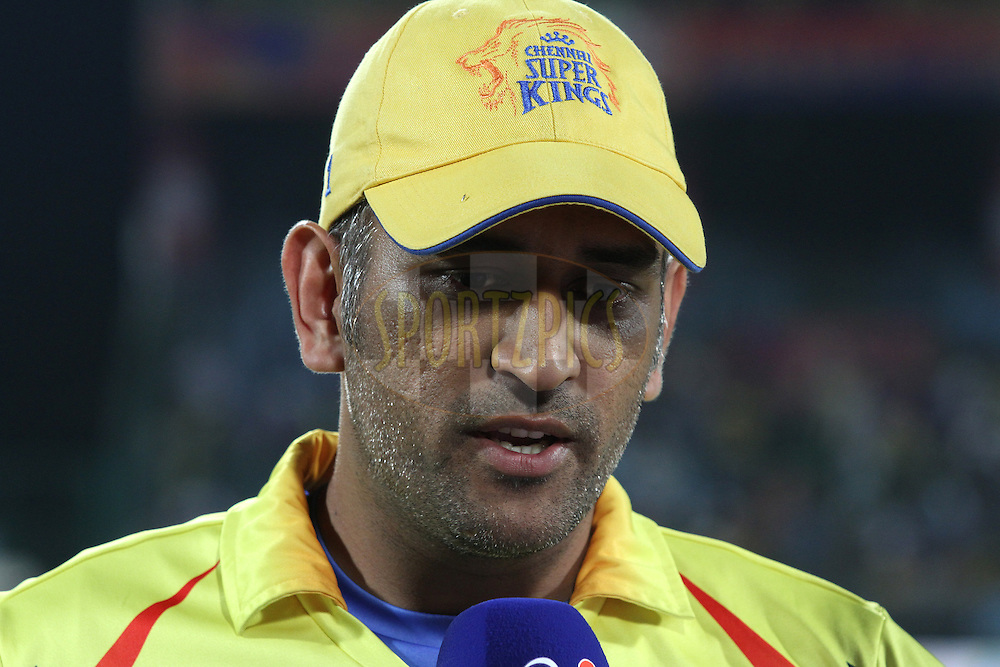MS Dhoni captain of The Chennai Super Kings is interviewed before the toss during match 26 of the Pepsi Indian Premier League Season 2014 between the Delhi Daredevils and the Chennai Super Kings held at the Feroze Shah Kotla cricket stadium, Delhi, India on the 5th May  2014<br /> <br /> Photo by Shaun Roy / IPL / SPORTZPICS<br /> <br /> <br /> <br /> Image use subject to terms and conditions which can be found here:  http://sportzpics.photoshelter.com/gallery/Pepsi-IPL-Image-terms-and-conditions/G00004VW1IVJ.gB0/C0000TScjhBM6ikg