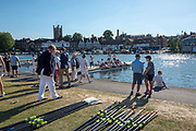 "Henley on Thames, United Kingdom, 29th June 2018, Friday, ""Henley Royal Regatta"", Qualifying races, [Time Trails] Girl's Quadruple Sculls, Boating for their race over the, Regatta Course, Henley Reach, River Thames, Thames Valley, England, © Peter SPURRIER, 29/06/2018"