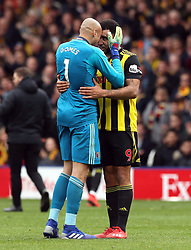 Watford goalkeeper Heurelho Gomes (left) celebrates victory with Troy Deeney after the FA Cup quarter final match at Vicarage Road, Watford.