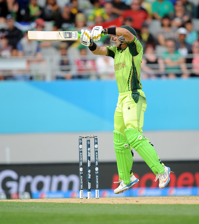 Pakistan's Misbah-ul-Haq batting against South Africa in the ICC Cricket World Cup at Eden Park, Auckland, New Zealand, Saturday, March 07, 2015. Credit:SNPA / Ross Setford
