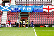 Scotland, England, FIFA & UEFA flags fly over the tunnel ahead of the U21 UEFA EUROPEAN CHAMPIONSHIPS match Scotland vs England at Tynecastle Stadium, Edinburgh, Scotland, Tuesday 16 October 2018.