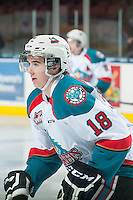 KELOWNA, CANADA - JANUARY 7: Tate Coughlin #18 of Kelowna Rockets warms up against the Vancouver Giants on January 7, 2015 at Prospera Place in Kelowna, British Columbia, Canada.  (Photo by Marissa Baecker/Shoot the Breeze)  *** Local Caption *** Tate Coughlin;