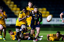 Anjo Ademuwagun of Wasps A and Oli Morris of Worcester Cavaliers challenge for the ball - Mandatory by-line: Robbie Stephenson/JMP - 16/12/2019 - RUGBY - Sixways Stadium - Worcester, England - Worcester Cavaliers v Wasps A - Premiership Rugby Shield