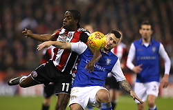 Clayton Donaldson of Sheffield United challenges Daniel Pudil of Sheffield Wednesday - Mandatory by-line: Robbie Stephenson/JMP - 12/01/2018 - FOOTBALL - Bramall Lane - Sheffield, England - Sheffield United v Sheffield Wednesday - Sky Bet Championship