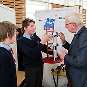 27.04. 2017.          <br /> Pictured at the Limerick Institute of Technology (LIT) SciFest were, Prof. Vincent Cunnane, President LIT with Crescent Comprehensive Limerick Students, Liam Keary and Luke Sweeney-Crehan with their project NASA. Picture: Alan Place.